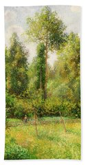 Beach Towel featuring the painting Poplars - Eragny by Camille Pissaro