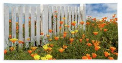 Beach Towel featuring the photograph Poppies And A White Picket Fence by James Eddy