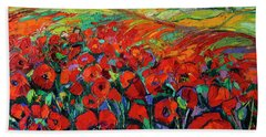 Poppies And Cypresses - Modern Impressionist Palette Knives Oil Painting Beach Sheet