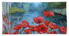 Poppies At Peaceful Pond Beach Sheet