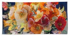 Poppies, Clematis, And Daffodils In Porcelain Vase. Beach Towel