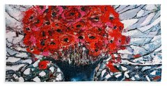 Beach Sheet featuring the painting Poppies by Evelina Popilian