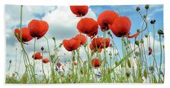 Poppies In Field Beach Sheet