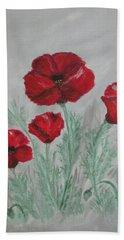 Poppies In The Mist Beach Towel by Sharyn Winters