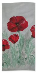 Beach Sheet featuring the painting Poppies In The Mist by Sharyn Winters