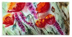 Poppies In The Wind Beach Towel by Maria Barry