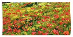 Beach Towel featuring the painting Poppies Near The Village by Dmitry Spiros