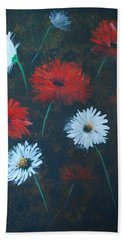 Beach Towel featuring the painting Poppin Daisies by Leslie Allen