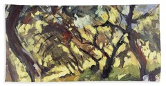 Popping Sunlight Through The Olive Grove Beach Towel