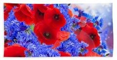 Poppy And Cornflower Flowers Beach Towel