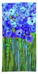 Beach Towel featuring the mixed media Poppy Bloomies 2 - Blue by Carol Cavalaris