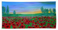 Poppy Field At Sunset Beach Towel