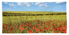 Beach Towel featuring the photograph Poppy Fields by Marion McCristall