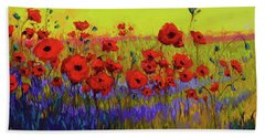 Poppy Flower Field Oil Painting With Palette Knife Beach Sheet