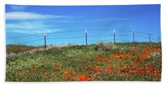 Beach Towel featuring the mixed media Poppy Hill- Art By Linda Woods by Linda Woods