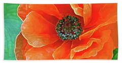 Poppy Red Beach Towel by Lynda Lehmann