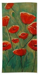 Beach Towel featuring the painting Poppy Surprise by Leslie Allen