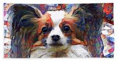 Poppy The Papillon Dog Beach Towel