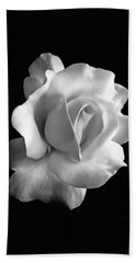 Porcelain Rose Flower Black And White Beach Towel