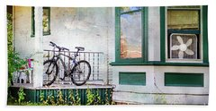 Porch And Window Fan Bicycle Beach Towel by Craig J Satterlee