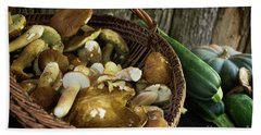 Porcini Mushrooms, Zucchini And A Pumpkin Beach Towel by IPics Photography