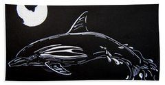 Beach Sheet featuring the drawing Porpoise Sillhouette by Mayhem Mediums