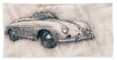 Porsche 356 - Luxury Sports Car - 1948 - Automotive Art - Car Posters Beach Towel