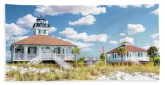 Beach Towel featuring the painting Port Boca Grande Lighthouse by Christopher Arndt