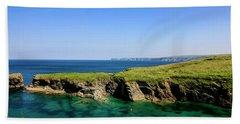 Port Isaac Coastline, Cornwall Beach Towel by Chris Smith
