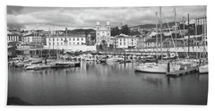 Port Of Angra Do Heroismo, Terceira Island, The Azores In Black And White Beach Towel