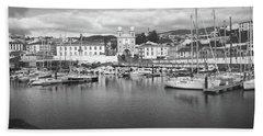 Port Of Angra Do Heroismo, Terceira Island, The Azores In Black And White Beach Sheet