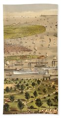 Port Of New York, Birds Eye View From The Battery Looking South, Circa 1878 Beach Towel