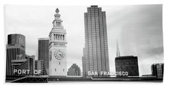 Beach Towel featuring the mixed media Port Of San Francisco Black And White- Art By Linda Woods by Linda Woods