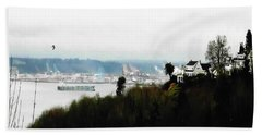 Beach Sheet featuring the photograph Port Of Tacoma At Ruston Wa by Sadie Reneau