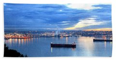 Beach Towel featuring the photograph Port Of Tacoma W A At Sunset by Sadie Reneau