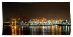 Port Of Vancouver Bc At Night Beach Towel