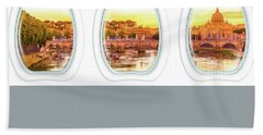 Porthole Windows On Rome Beach Towel
