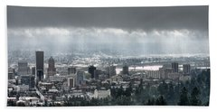 Portland After A Morning Rain Beach Towel by Don Schwartz