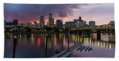 Portland City Skyline Along Willamette River At Dusk Beach Sheet