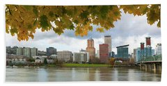 Portland City Skyline Under Fall Foliage Beach Towel
