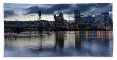 Portland City Skyline With Hawthorne Bridge At Dusk Beach Sheet