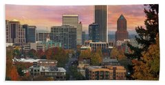 Portland Downtown Cityscape During Sunrise In Fall Beach Towel