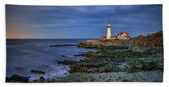 Beach Towel featuring the photograph Portland Head Aglow by Rick Berk