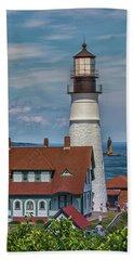 Portland Head Light And Ram Island Ledge Lighthouse Beach Sheet
