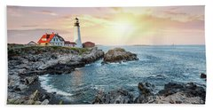 Portland Head Light At Dusk Beach Towel