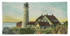 Beach Towel featuring the painting Portland Head Light At Sunrise by Dominic White