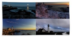 Portland Head Light Day Or Night Beach Sheet