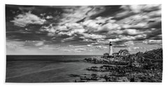 Portland Head Light In Black And White Beach Towel