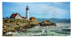 Portland Head Light - Oldest Lighthouse In Maine Beach Sheet