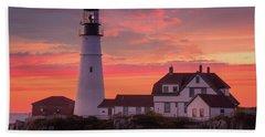 Beach Towel featuring the photograph Portland Head Light Sun Set  by Emmanuel Panagiotakis